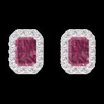 Boucles d'oreilles Create 201192 Or blanc 9 carats - Rubis Rectangle 0.3 carat (2 X) - Halo Diamant