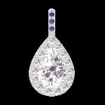 Colgante Create 203231 Oro blanco 18 quilates - Diamante Pera 0.3 quilates - Halo Diamante - Engastado Zafiro azul - Ninguna cadena