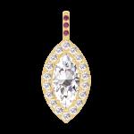 Colgante Create 203417 Oro amarillo 18 quilates - Diamante Marquesa 0.3 quilates - Halo Diamante - Engastado Rubí - Ninguna cadena