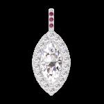 Colgante Create 203419 Oro blanco 18 quilates - Diamante Marquesa 0.3 quilates - Halo Diamante - Engastado Rubí - Ninguna cadena