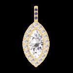 Colgante Create 203421 Oro amarillo 18 quilates - Diamante Marquesa 0.3 quilates - Halo Diamante - Engastado Zafiro azul - Ninguna cadena