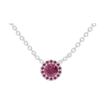 Necklace Create 201844 White gold 9 carats - Ruby round 0.3 Carats - Halo Ruby - Chain FORCAT