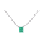 Necklace Create 202276 White gold 9 carats - Emerald Baguette 0.3 Carats - Chain FORCAT
