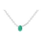 Necklace Create 202308 White gold 9 carats - Emerald Oval 0.3 Carats - Chain FORCAT
