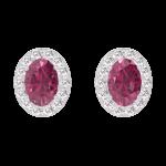 Ohrringe Create 201208 Weißgold 375/-(9Kt) - Rubin Oval 0.3 Karat (2 X) - Halo Diamant