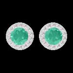 Ohrringe Create 201352 Weißgold 375/-(9Kt) - Smaragd rund 0.3 Karat (2 X) - Halo Diamant