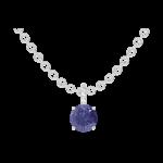 Pendant Create 205880 White gold 9 carats - Blue Sapphire round 0.3 Carats - Setting Diamond white - Chain FORCAT