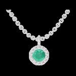 Pendant Create 207080 White gold 9 carats - Emerald round 0.3 Carats - Halo Diamond white - Setting Diamond white - Chain FORCAT