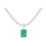 Pendant Create 207416 White gold 9 carats - Emerald Baguette 0.3 Carats - Setting Diamond white - Chain FORCAT