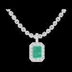 Pendant Create 207464 White gold 9 carats - Emerald Baguette 0.3 Carats - Halo Diamond white - Setting Diamond white - Chain FORCAT