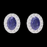 Pendientes Create 201303 Oro blanco 18 quilates - Zafiro azul Ovalo 0.3 quilates (2 X) - Halo Diamante
