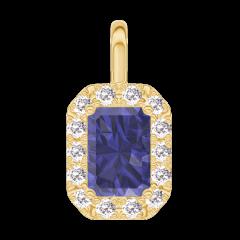 Anhänger Create 206290 Gelbgold 375/-(9Kt) - Blauer Saphir Rechteckig 0.3 Karat - Halo Diamant -