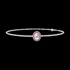 Armband Create 200115 Witgoud 18 karaat - Diamant Ovaal 0.3 Karaat - Halo Robijn - Ketting FORCAT