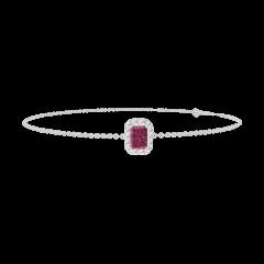 Armband Create 200460 Witgoud 9 karaat - Robijn Rechthoekig 0.3 Karaat - Halo Diamant - Ketting FORCAT