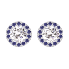 Boucles d'oreilles Create 200975 Or blanc 18 carats - Diamant Rond 0.3 carat (2 X) - Halo Saphir bleu