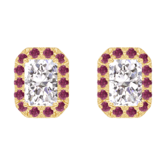 Boucles d'oreilles Create 201001 Or jaune 18 carats - Diamant Rectangle 0.3 carat (2 X) - Halo Rubis