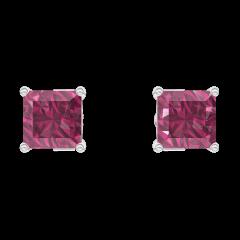 Boucles d'oreilles Create 201172 Or blanc 9 carats - Rubis Princesse 0.3 carat (2 X)
