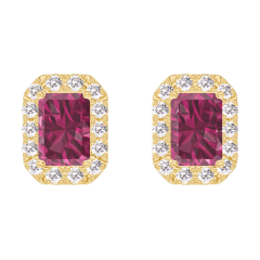 Boucles d'oreilles Create 201190 Or jaune 9 carats - Rubis Rectangle 0.3 carat (2 X) - Halo Diamant