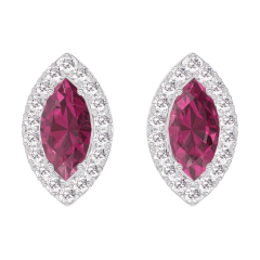 Boucles d'oreilles Create 201240 Or blanc 9 carats - Rubis Marquise 0.3 carat (2 X) - Halo Diamant