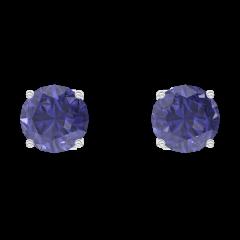 Boucles d'oreilles Create 201252 Or blanc 9 carats - Saphir bleu Rond 0.3 carat (2 X)