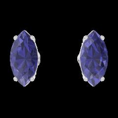 Boucles d'oreilles Create 201332 Or blanc 9 carats - Saphir bleu Marquise 0.3 carat (2 X)