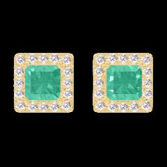 Boucles d'oreilles Create 201366 Or jaune 9 carats - Émeraude Princesse 0.3 carat (2 X) - Halo Diamant