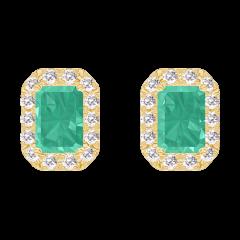 Boucles d'oreilles Create 201382 Or jaune 9 carats - Émeraude Rectangle 0.3 carat (2 X) - Halo Diamant