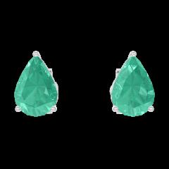Boucles d'oreilles Create 201412 Or blanc 9 carats - Émeraude Poire 0.3 carat (2 X)