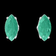 Boucles d'oreilles Create 201428 Or blanc 9 carats - Émeraude Marquise 0.3 carat (2 X)
