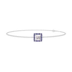 Bracciale Create 200059 Oro bianco 18 carati - Diamante Principessa 0.3 Carati - Halo Zaffiro blu - Catena FORCAT