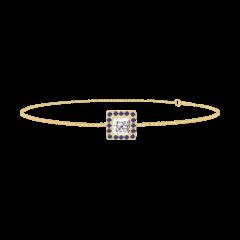 Bracciale Create 200254 Oro giallo 9 carati - Diamante di laboratorio Principessa 0.3 Carati - Halo Zaffiro blu - Catena VENITIENNE