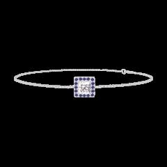 Bracciale Create 200256 Oro bianco 9 carati - Diamante di laboratorio Principessa 0.3 Carati - Halo Zaffiro blu - Catena VENITIENNE