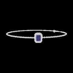 Bracciale Create 200652 Oro bianco 9 carati - Zaffiro blu Rettangolo 0.3 Carati - Halo Diamante - Catena FORCAT