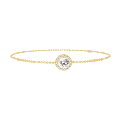 Bracelet Create 200010 Yellow gold 9 carats - Diamond white round 0.3 Carats - Halo Diamond white - Chain FORCAT