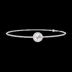 Bracelet Create 200012 Or blanc 9 carats - Diamant Rond 0.3 carat - Halo Diamant - Chaîne FORCAT