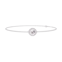Bracelet Create 200012 White gold 9 carats - Diamond white round 0.3 Carats - Halo Diamond white - Chain FORCAT