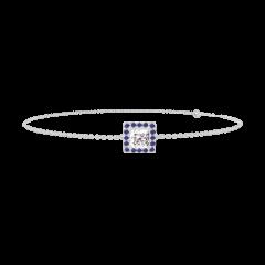 Bracelet Create 200059 Or blanc 18 carats - Diamant Princesse 0.3 carat - Halo Saphir bleu - Chaîne FORCAT