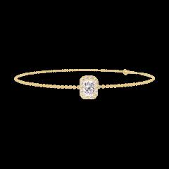 Bracelet Create 200074 Yellow gold 9 carats - Diamond white Baguette 0.3 Carats - Halo Diamond white - Chain FORCAT