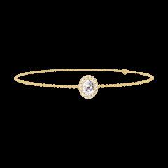 Bracelet Create 200106 Yellow gold 9 carats - Diamond white Oval 0.3 Carats - Halo Diamond white - Chain FORCAT