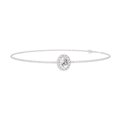 Bracelet Create 200108 White gold 9 carats - Diamond white Oval 0.3 Carats - Halo Diamond white - Chain FORCAT