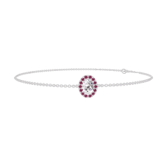 Bracelet Create 200115 Or blanc 18 carats - Diamant Ovale 0.3 carat - Halo Rubis - Chaîne FORCAT