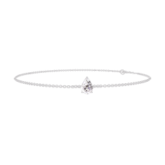 Bracelet Create 200131 Or blanc 18 carats - Diamant Poire 0.3 carat - Chaîne FORCAT