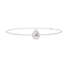 Bracelet Create 200139 Or blanc 18 carats - Diamant Poire 0.3 carat - Halo Diamant - Chaîne FORCAT