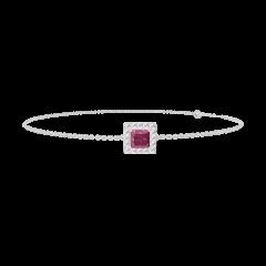 Bracelet Create 200428 Or blanc 9 carats - Rubis Princesse 0.3 carat - Halo Diamant - Chaîne FORCAT