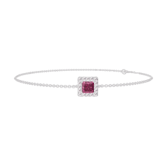 Bracelet Create 200428 White gold 9 carats - Ruby Princess 0.3 Carats - Halo Diamond white - Chain FORCAT