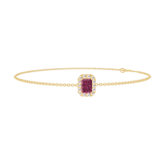 Bracelet Create 200458 Or jaune 9 carats - Rubis Rectangle 0.3 carat - Halo Diamant - Chaîne FORCAT