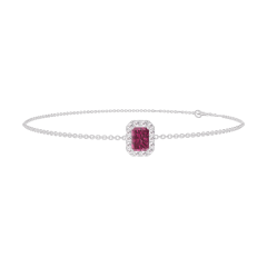 Bracelet Create 200460 White gold 9 carats - Ruby Baguette 0.3 Carats - Halo Diamond white - Chain FORCAT