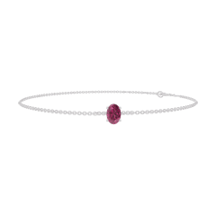Bracelet Create 200483 White gold 18 carats - Ruby Oval 0.3 Carats - Chain FORCAT