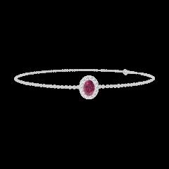 Bracelet Create 200492 Or blanc 9 carats - Rubis Ovale 0.3 carat - Halo Diamant - Chaîne FORCAT