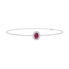 Bracelet Create 200492 White gold 9 carats - Ruby Oval 0.3 Carats - Halo Diamond white - Chain FORCAT